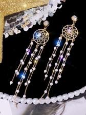 Chic Rhinestone Pearl Dreamcatcher Shape Long Earrings