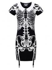 Streetwear 3D Skull Printed Dark Dress