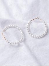 Easy Matching Faux Pearl Women Hoop Earrings