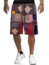 Patchwork Contrast Color Short Pants For Men