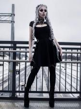 Fashion Punk Style Patchwork Suspender Skirt