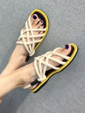 Casual Rope Strap Contrast Color Flat Sandals