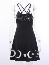 Trendy Backless Star Printed Straps Dress