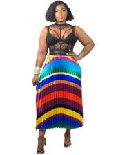 Hot Sale Multicolored Striped Pleated Maxi Skirt