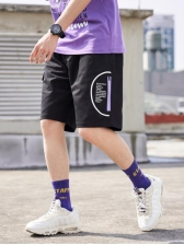Solid Color Drawstring Cargo Shorts
