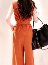 OL Style Wide Legs Sleeveless Jumpsuit With Belt