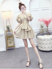 Puff Sleeve Solid Color Bow Dress