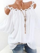 Cold Shoulder Hook Flower Detail Womens T-Shirt