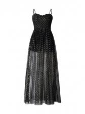 Boat Neck Dot Gauze HighSplit Maxi Dress