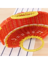 Cute Fruit Pattern Semicircle Woven Handbag