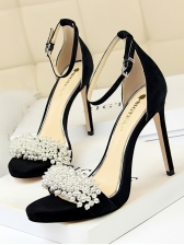 Trendy Faux Pearls Ankle Strap Suede Heeled Sandals
