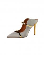 Pointed Metal Splicing Slip On High Heels