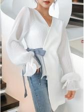 Summer Patchwork Irregular Long Sleeve Blouse