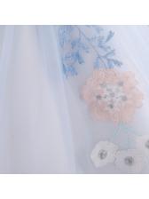 Flower Printed Gauze Girls Party Dress