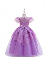 Self Tie Lace Patchwork Girls Princess Dress