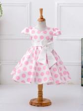 Polka Dots Binding Bow Girl Large Hem Dress