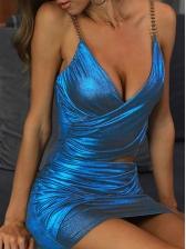 Sexy V Neck Midriff-Baring Sleeveless Bodycon Dress