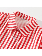 Preppy Style Striped Blouse Overall Boys Sets