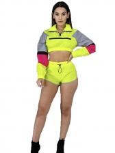 Color Block Top Short Pants Two Pieces Sets