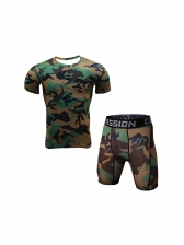 Camouflage Short Sleeve Quick Dry Tight Sportswear
