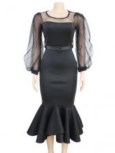 Stylish Sheer Lantern Sleeve Fishtail Black Dress Without Belt