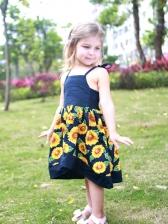 Sunflower Patchwork Pleated Girls Strap Dress