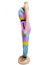 Contrast Color Smart Waist Strapless Jumpsuit