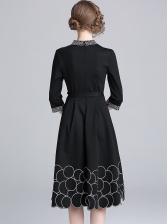 Ladies V Neck Circle Printed Tie-Wrap Dress