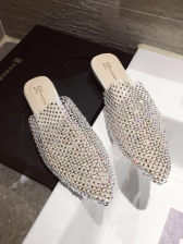 Matching Rhinestone Splicing Pointed Mules Flat