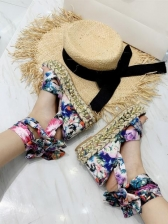 Roman Style Floral Lace Up Wedge