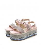 Summer Rhinestone Decor Platform Sandals