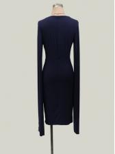 Chic Plunging V Neck Split Long Sleeve Dresses