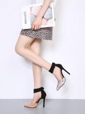 Contrast Color Snake Print Pointed Heels