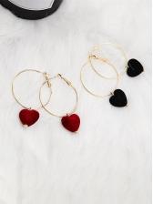 Fashion Velvet Heart Circle Earrings