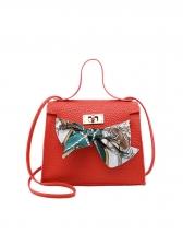Fashion Silk Scarf Bow Decor Shoulder Bag
