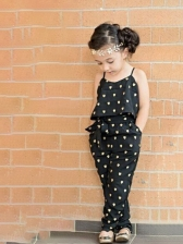Heart Print Backless Sleeveless Jumpsuit With Belt