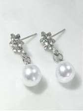 Easy Matching Faux Petal Rhinestone Pearl Earrings