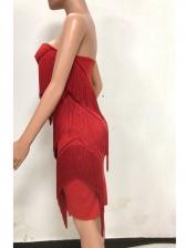 Summer Tassel Solid Tube Dress For Women