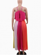 Backless Contrast Color Pleated Maxi Dress