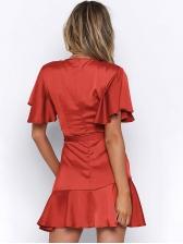 Deep V Neck Ruffled Hem Tie-Wrap Dress