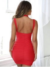 Charming Backless Solid Pencil Dress
