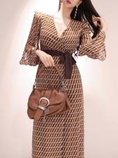 V Neck Tie-Wrap Printed Long Sleeve Dress
