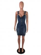 Button Up Denim Sleeveless Dress For Women