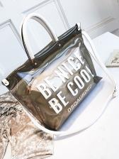 Chic Letter Printed Transparent Tote Bag