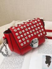 Chic Rhinestone Rivet Chain One Shoulder Bag
