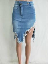Stylish Fringe Irregular Blue Denim Skirts