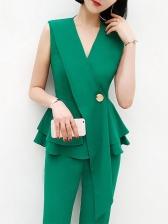 OL Style V-neck Ruffled Sleeveless Women Suit