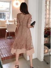 Retro Solid Lace Panel Gauze Dress