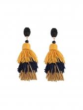Vintage Style Contrast Color Tassel Earrings