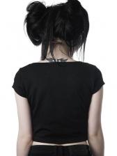 Punk Style Star Zipper Midriff-Baring T-shirt